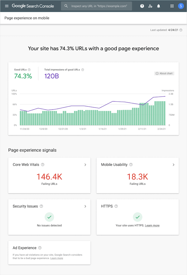 Google's new Page Experience report found within the Search Console tool.