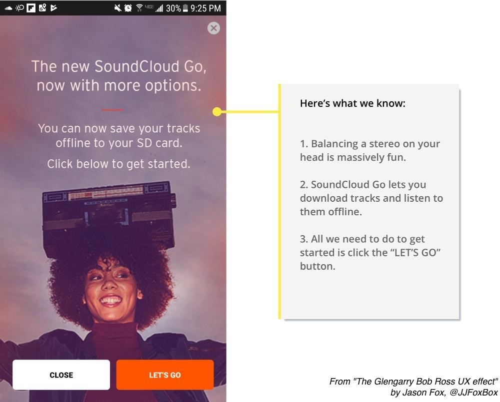 Soundcloud's 'Let's Go' call-to-action button