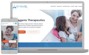The Epygenix Therapeutics website, a biopharma company.