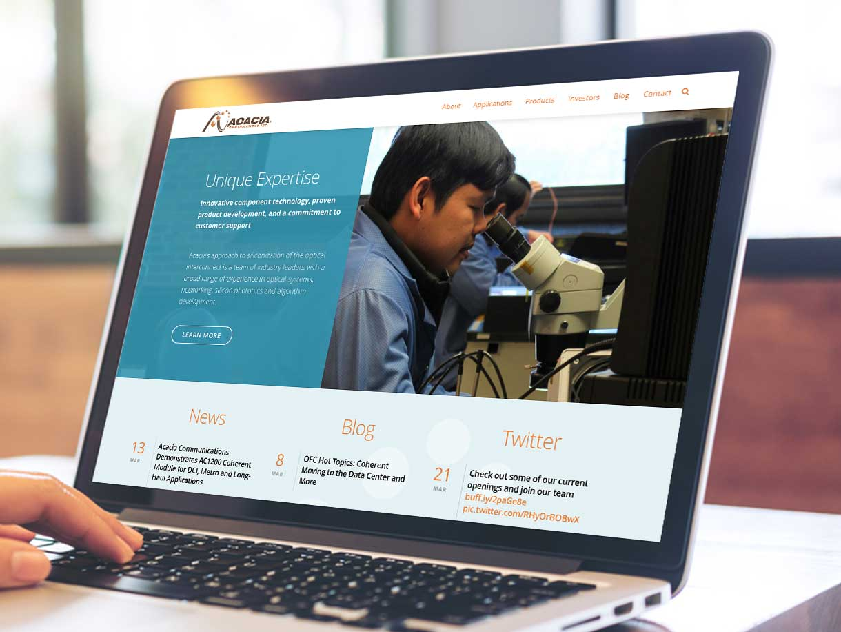 Acacia Communications website being viewed on a laptop