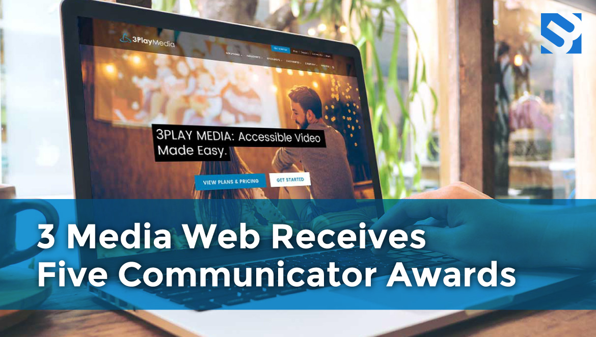 laptop screen showing the title: 3 Media Web Receives Five Communicator Awards