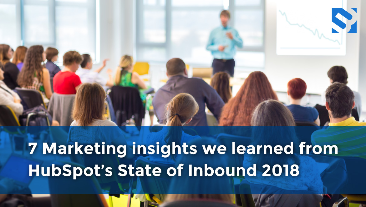 Title: 7 Marketing insights we learned from HubSpot's State of Inbound 2018 and a group of people listening to a speaker