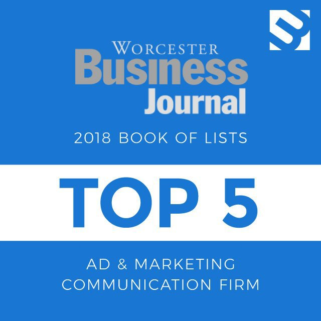 Worcester Business Journal 2018 Book of Lists Top 5 Ad & marketing Communication Firm award image