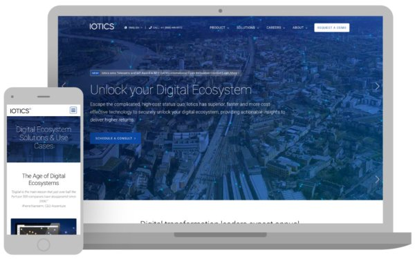Image of new Iotics homepage