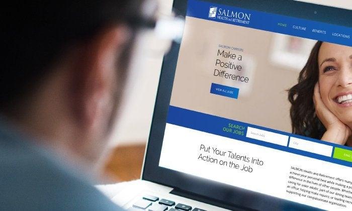 SALMON health website on laptop screen