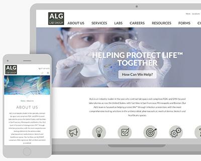 ALG homepage on desktop and smart phone.