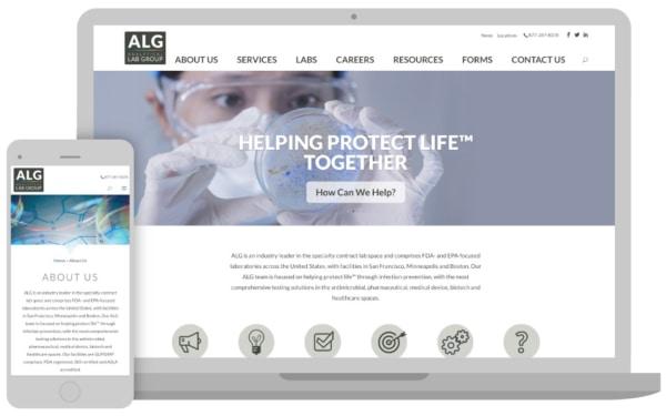 ALG homepage on desktop and smart phone