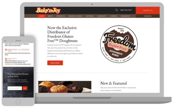 bake n joy website homepage