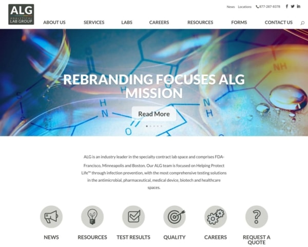 Biotech Web Design Example: Analytical Lab Group Homepage.