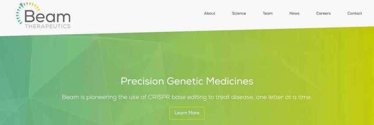 Biotech Web Design Example: Beam Therapeutics.