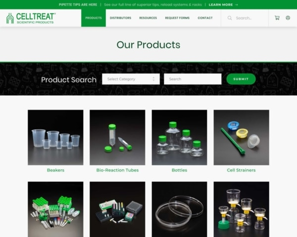 Biotech Web Design Example: Celltreat Products Page.