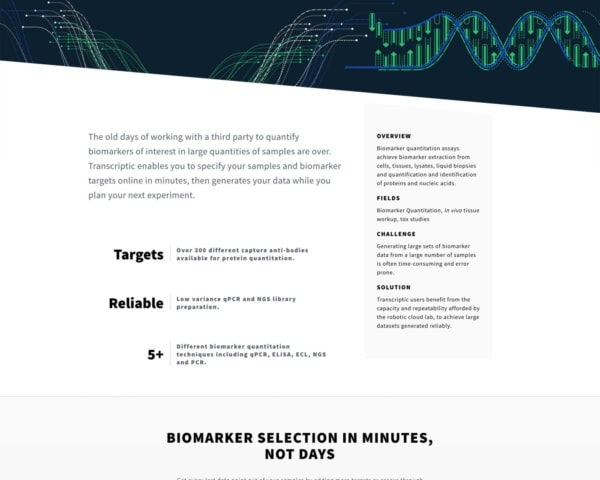 Biotech Web Design Example: Transcriptic Homepage Preview.