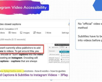 Instagram videos lack accessibility functions like subtitles.
