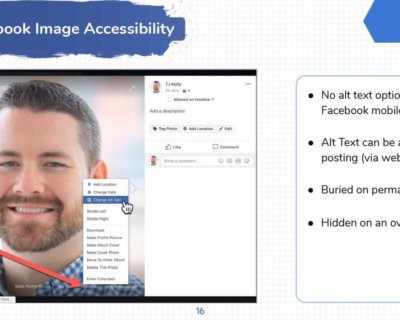 Facebook image accessibility alt tag editing options.