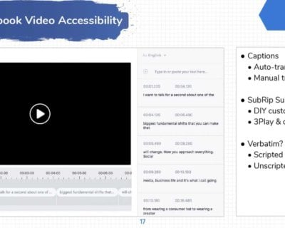Facebook video accessibility options on desktop.