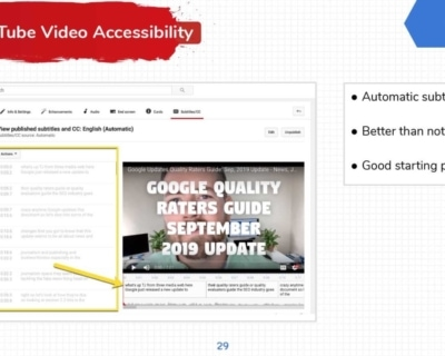 YouTube Video Accessibility Screenshots.