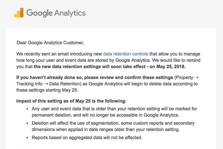 GDPR/Google Analytics: Data Processing Agreement Email.