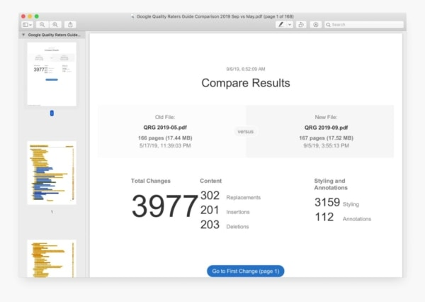Download PDF: Google Quality Raters Guide Comparison, 2019 Sep vs May.