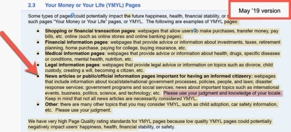 Google Quality Raters Guide, Sep 2019 Update 1 - News Govt YMYL: Old.