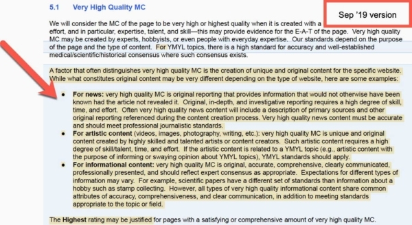 Google Quality Raters Guide, Sep 2019 Update 6 - Main Content Quality: New.
