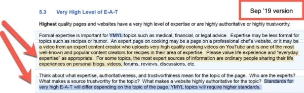 Google Quality Raters Guide, Sep 2019 Update 8 - EAT YMYL Clarity: New.