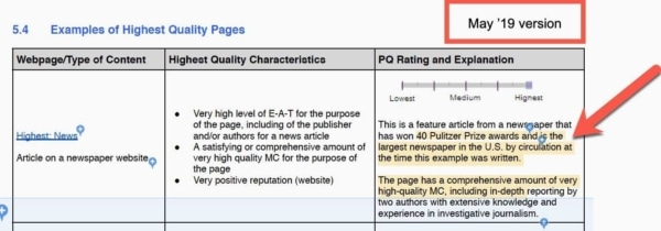 Google Quality Raters Guide, Sep 2019 Update 9 - Highest Quality News: Old.