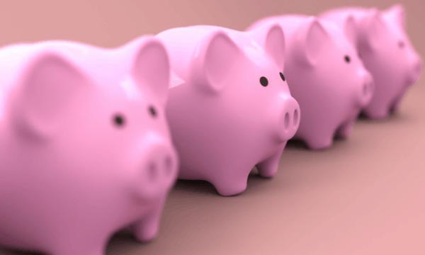 Four piggybanks in a row