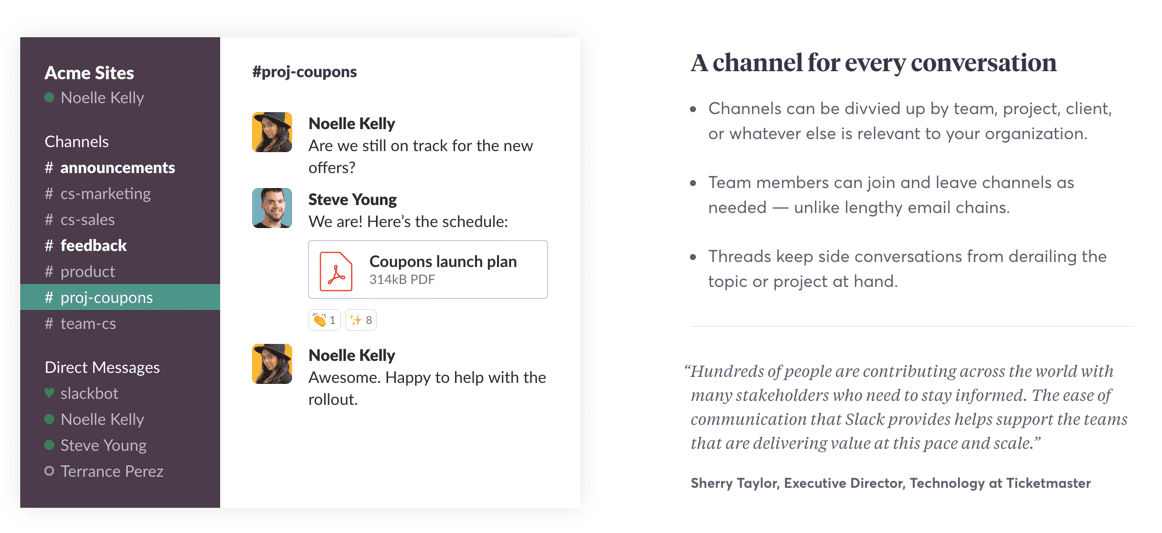 Slack Channel Screenshot