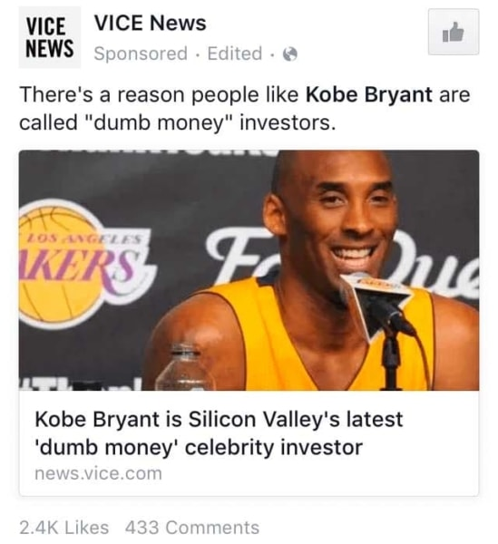 Storytelling in Marketing: Vice Facebook Ads about Kobe Bryant.