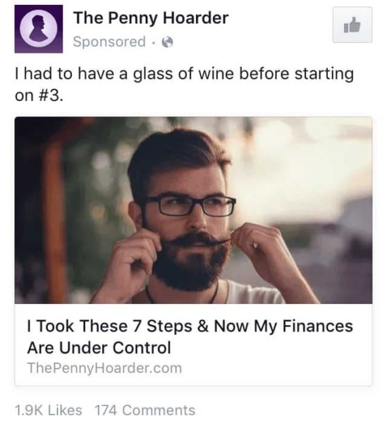 Storytelling in Marketing: Penny Hoarder Facebook Ads about Personal Finance.
