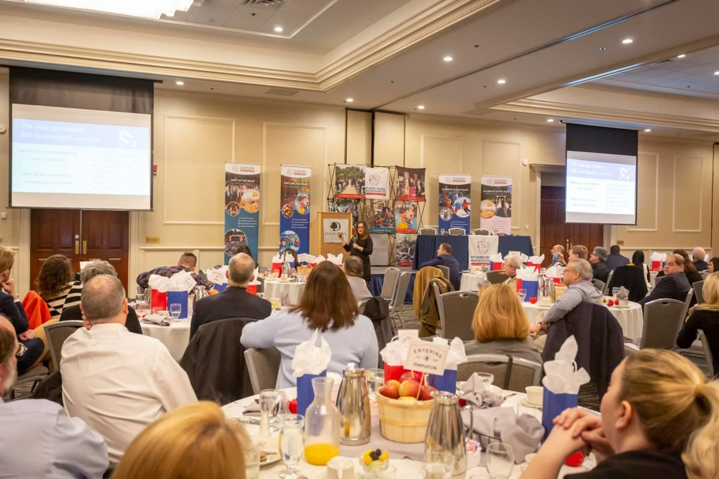 Lysa Miller speaks at North Central MA Tourism Breakfast