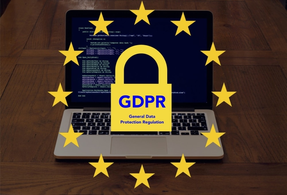 laptop computer screen with the GDPR logo overlay