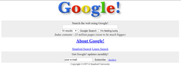 screengrab of google search from 1998