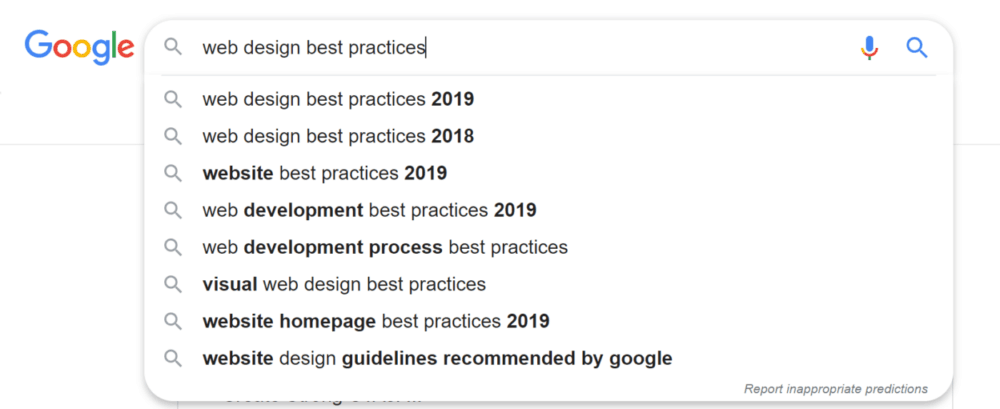 list of google suggested keywords example
