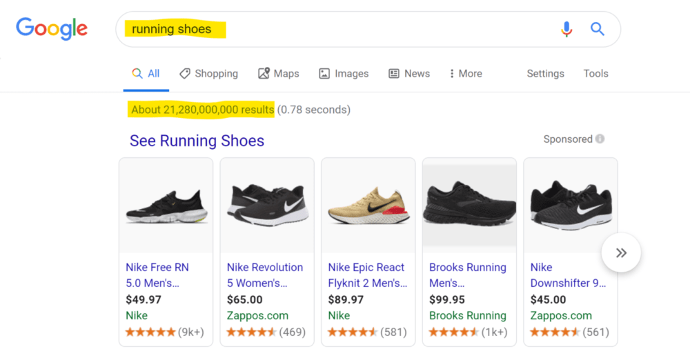 Google search results showing how to pick best keyword