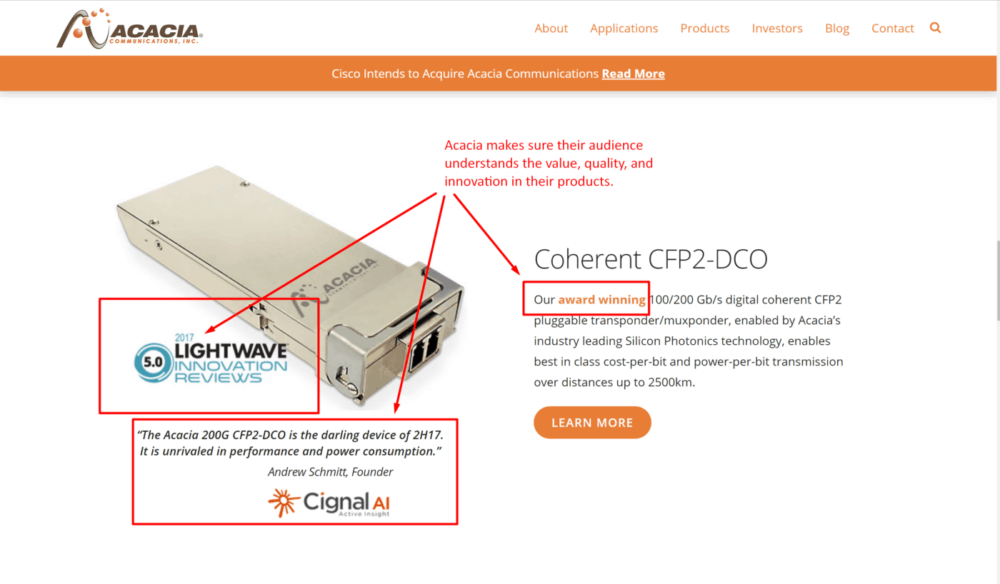 photo from manufacturing website showing a photo of their product along with specs to establish value and quality standards