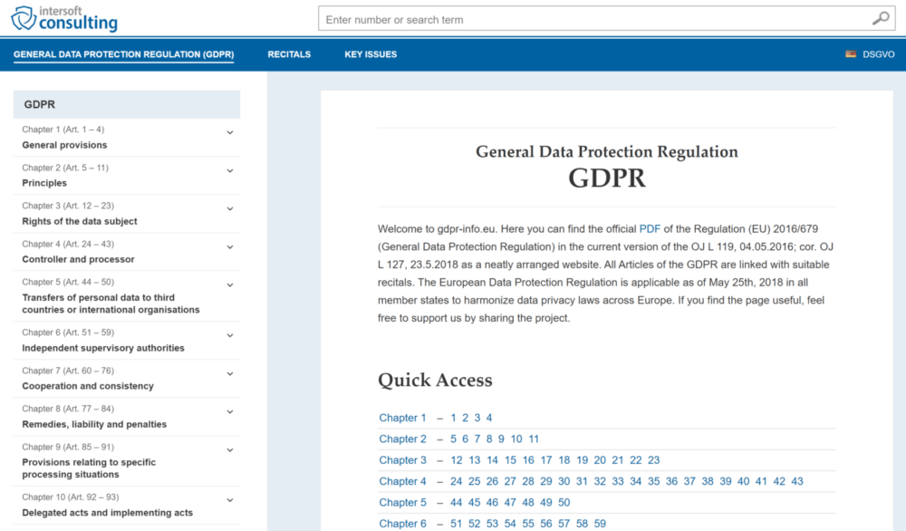 a screenshot of the GDPR text