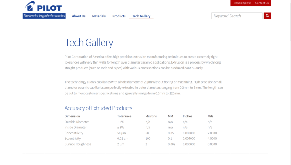 screengrab of Pilot manufacturing website showing example of how technical product data can be displayed
