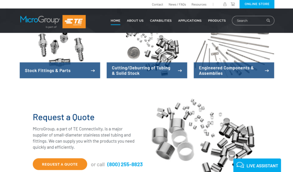 example of request a quote call to action on a manufacturing website