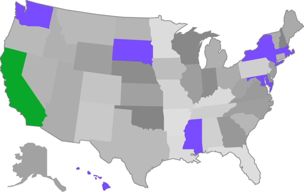 map of states with consumer privacy legislation passed or in progress