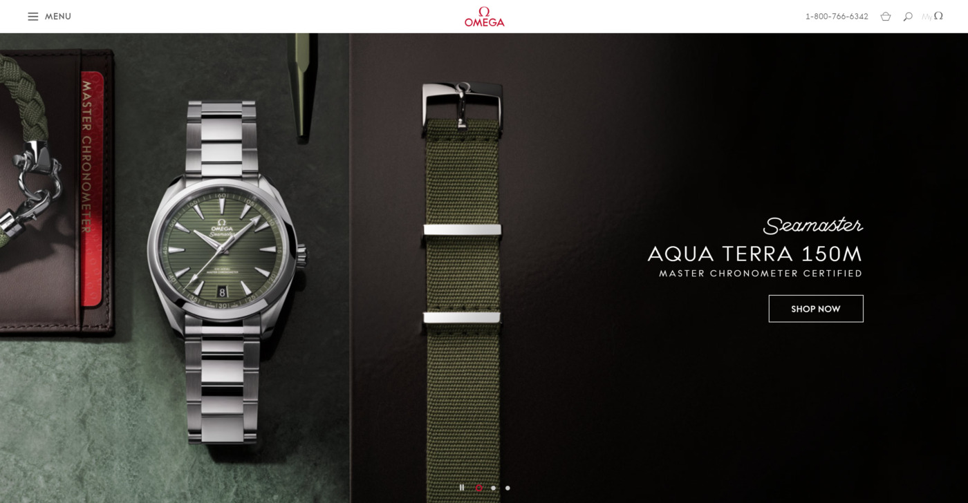 omega watches website branding and hamburger icon