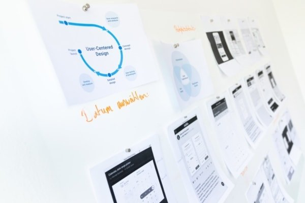 whiteboard with buyer persona data for web design